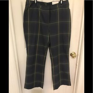 NWT Lands' End bootcut plaid trousers size 14
